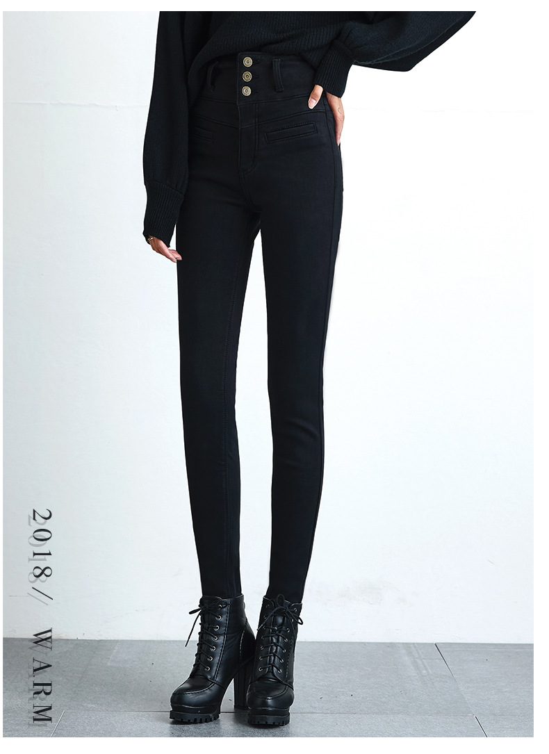 High Waist Velvet Thick Jeans Female Winter 19 Skinny Stretch Warm Jeans Pants Mom Black Denim Trousers With Fleece 8