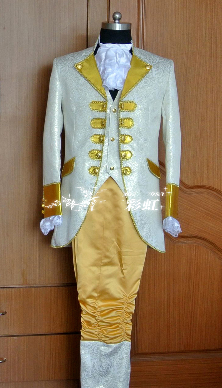 Mens golden embroidery medieval suit vintage period