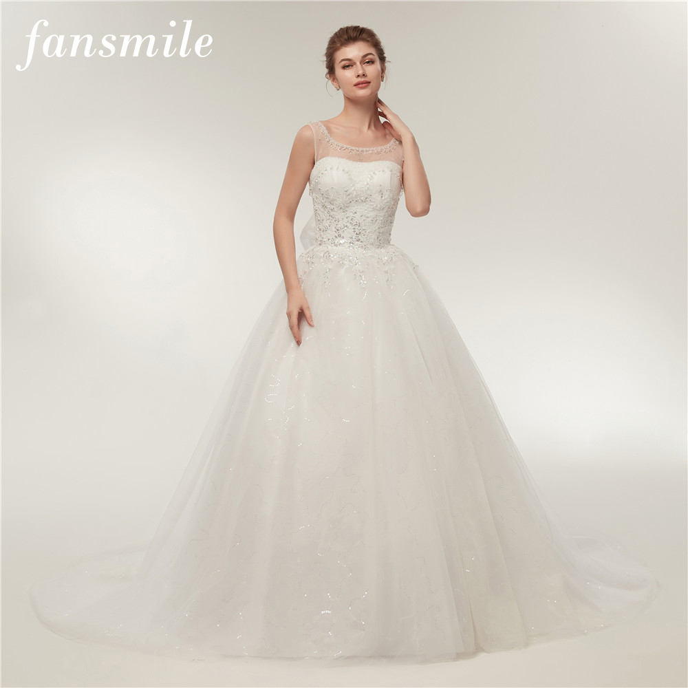 Fansmile Luxury Crystal Vintage Lace Up Long Train Wedding Dresses 2017 Bridal Ball Vestidos De Novia Robe de Mariee FSM-119T