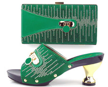 Grün Italienisches design Schuhe Mit Passenden Taschen Afrikanische Frauen Schuhe Und Taschen Set Hohe Qaulity Schuhe und Tasche Set! CT16-19