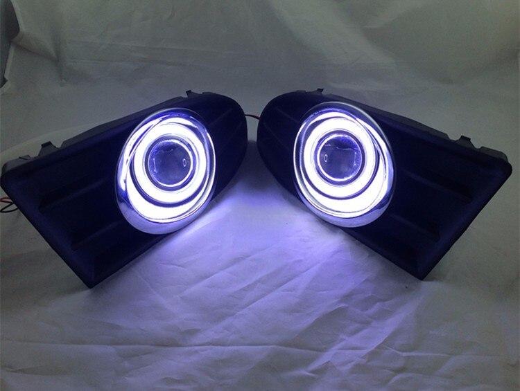 eOsuns инновационные cob ангел глаз светодиодные фары дневного света DRL + галогеновые Противотуманные фары + объектив проектора для Шкода Фабия 2011-14