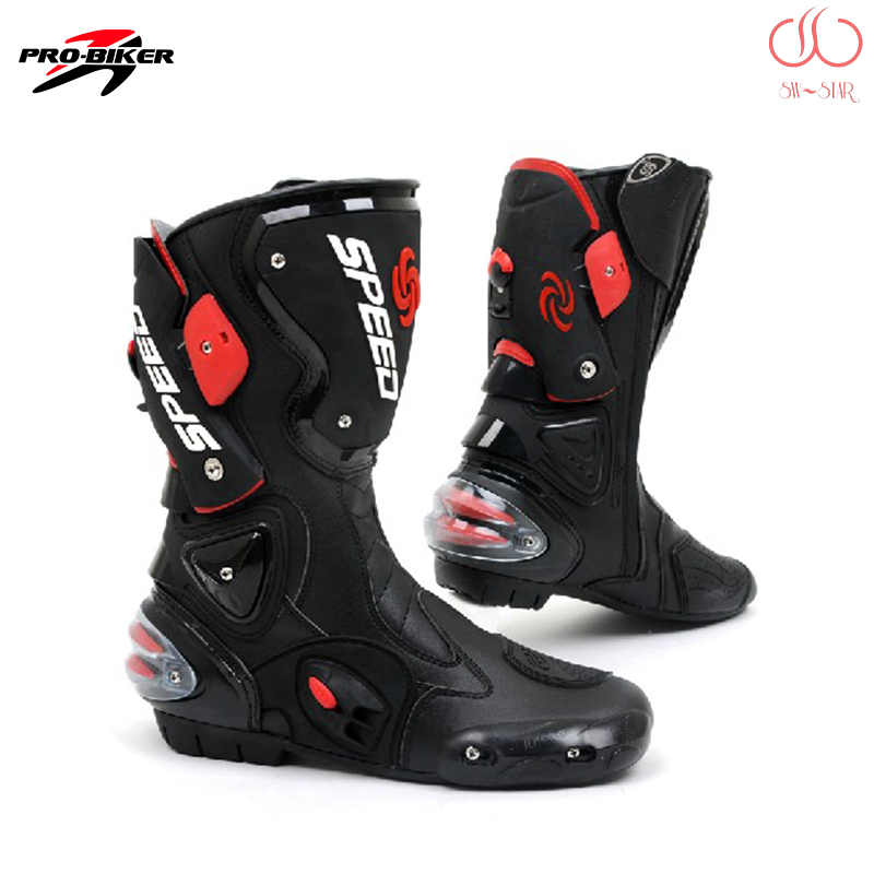 Professional Motocross boots Pro Biker B1001 Speed Genuine Leather Motorcycle Racing Boots Motorbike Road Riding font