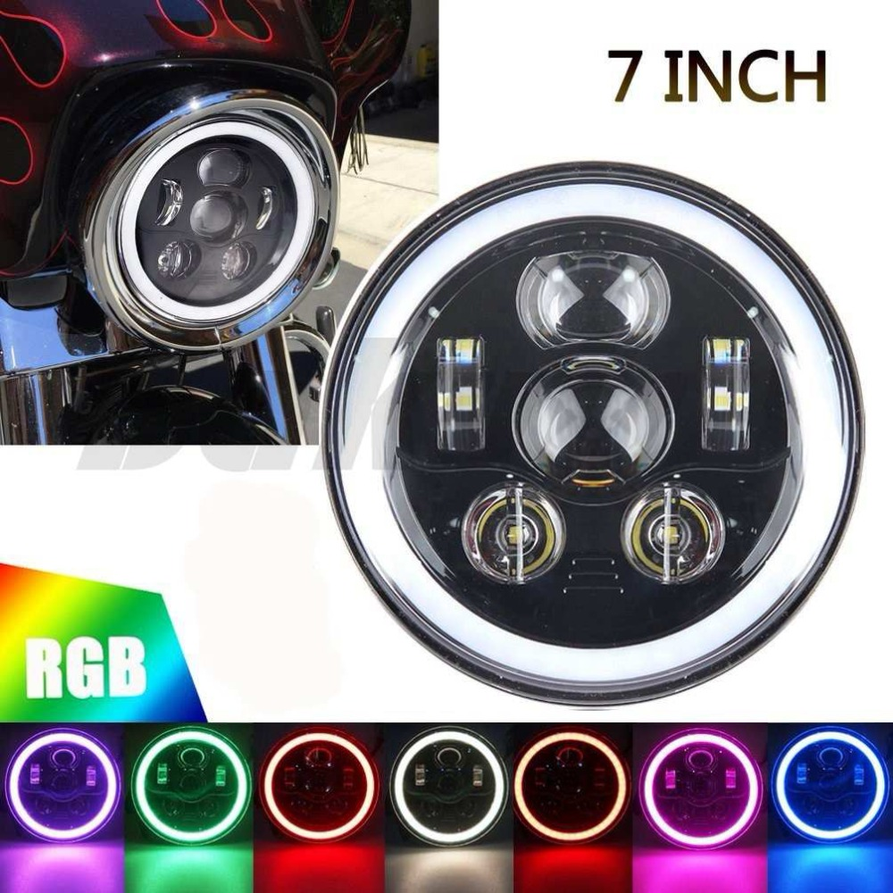45W 7 inch Round Daymaker LED Headlights High / Low Beam RGB Angel Eyes Halo Self-driven / Automatic RGB For Harley Motorcycle