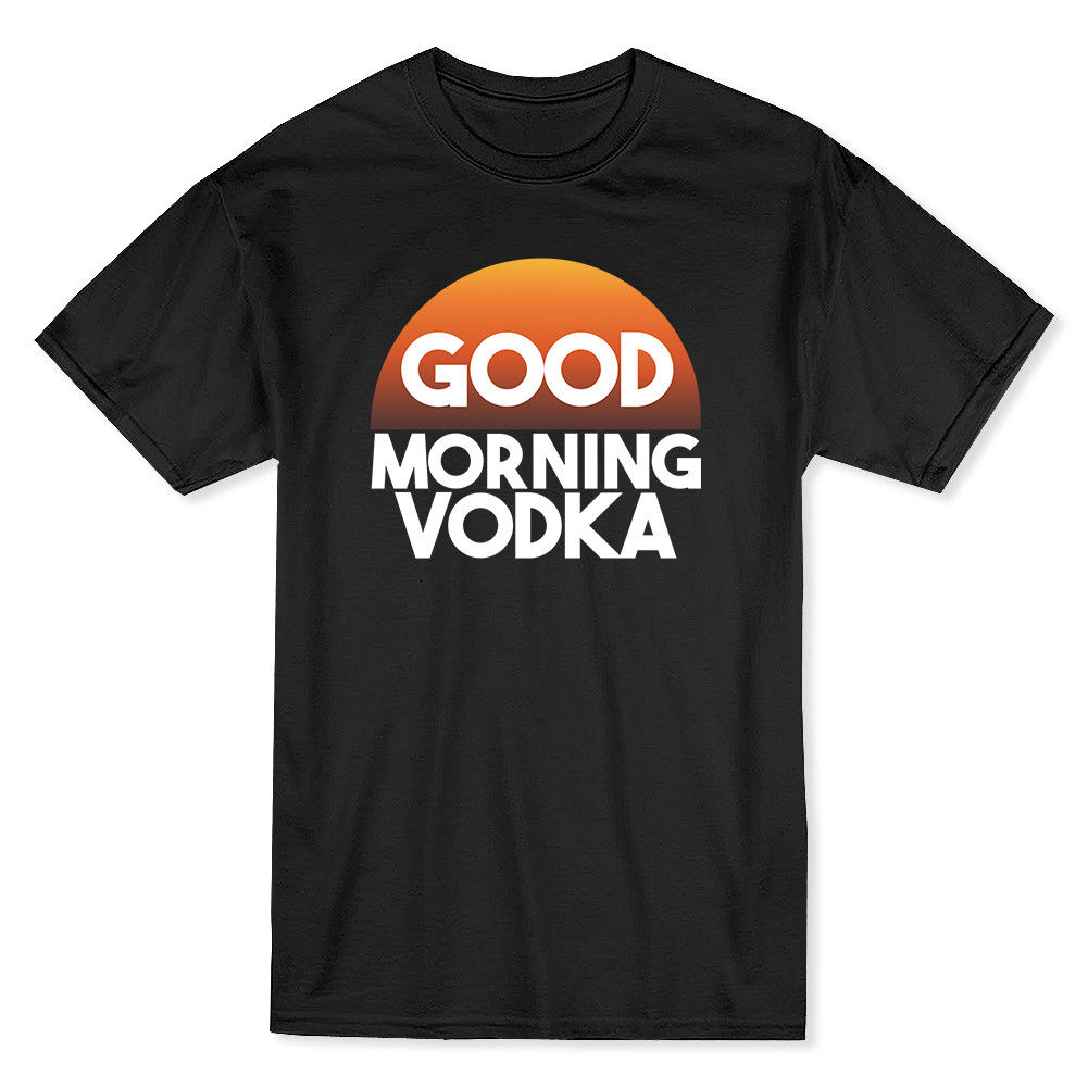 Good Morning Vodka Funny Drinking Mens Black T-shirt
