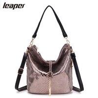 Leaper Women Bag Snake Tassel Half Moon Small Serpentine Leather Women Messenger Bags Handbags Women Famous