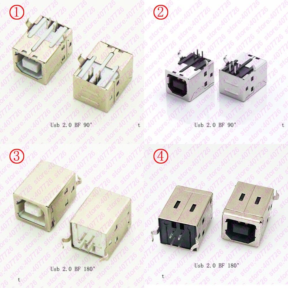 5PCS USB 2.0 Connector Socket Jack Female Type B 90 Degree Connector Soldering PCB Connector Printer Interface White/Black