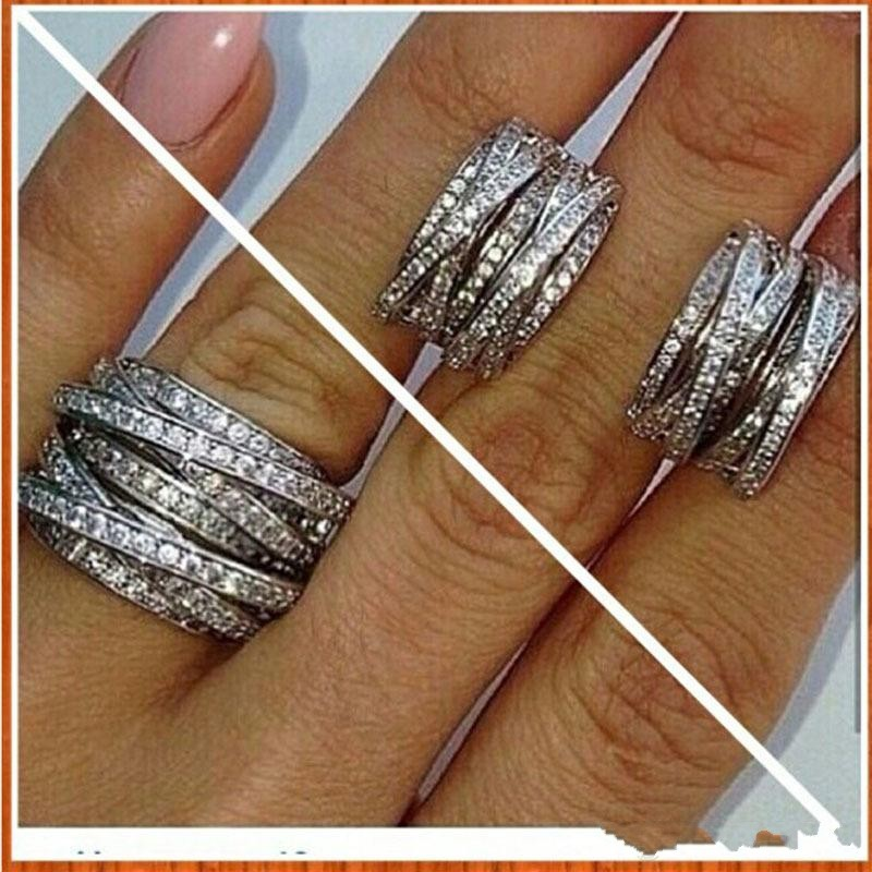 2018 Top Selling Luxury Jewelry Brand Design 10KT White Gold Filled Cross geometry Pave CZ Women Wedding Band Ring For Lovers