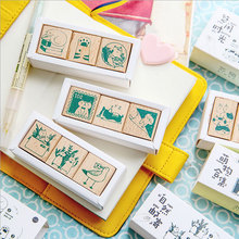 Animal cat series wood stamp DIY craft wooden rubber stamps for scrapbooking stationery scrapbooking standard stamp scrapbooking diy 50