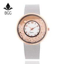 Malla De Acero Inoxidable Reloj de la Correa de Las Mujeres calientes de La Manera 2017 de Cristal Dial relojes de pulsera de Las Señoras de Oro BrandSilver Poplular Vestido de Reloj de Cuarzo