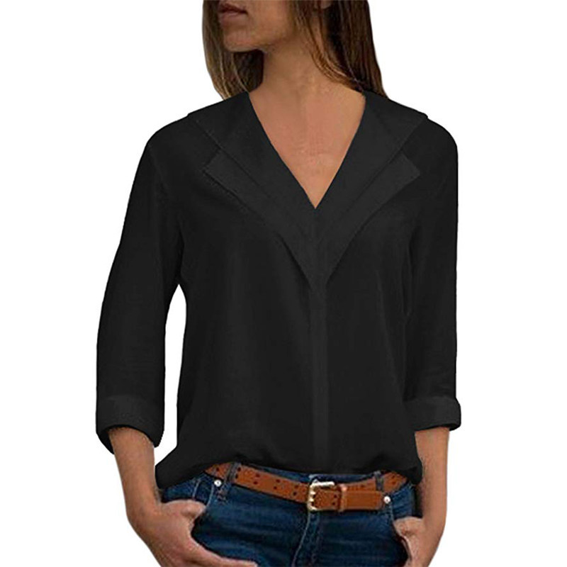 New Women Chiffon Blouse 2019 Long Sleeve Shirt Fashion V Neck Slim Solid Top Ladies Office Blouse Plus Size Casual Top