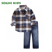 Fashion Kids Boys Autumn Clothing Set Long Sleeves Plaid Shirt Jeans Cotton 2 Pieces Clothing Set