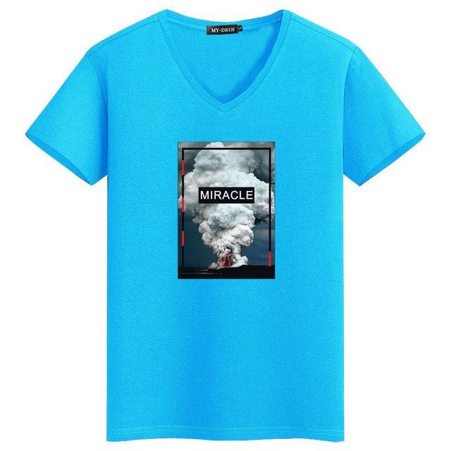 9b019a768dbed MYDBSH Brand Men/Women Elastic Cotton Tops Tees Fashion Volcano Eruption  Print T-shirts Men's Streetwear Hipster Miracle tshirt