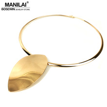 MANILAI Oval Shiny Metal Statement Chokers Necklaces For Women Big Collar Torques Geometric Necklace Fashion Jewelry Punk