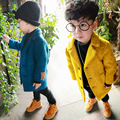 2017 Spring Fall New Boys Fashion Casual Tweed Jacket Children's Clothing Overcoat Little Kid Long Wool Trench Coat Clothes G721