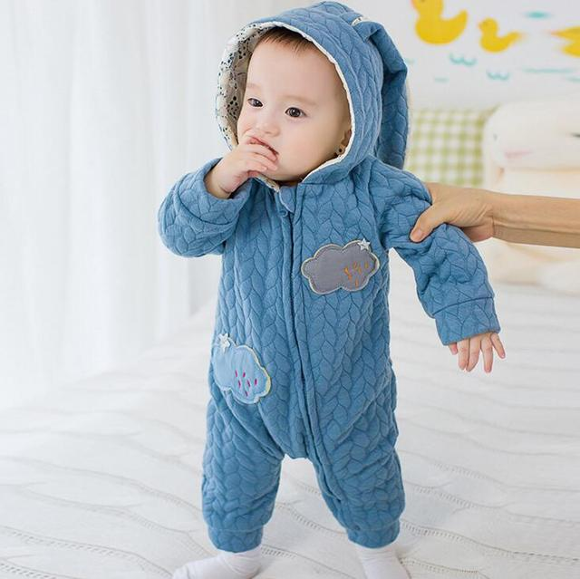 1b2cabb07a68 Cute Warm Baby Climbing Clothes Newborn Boys Girls Rompers Rabbit Ear Body  Suit Jumpsuit Pajamas Children Kids Clothes