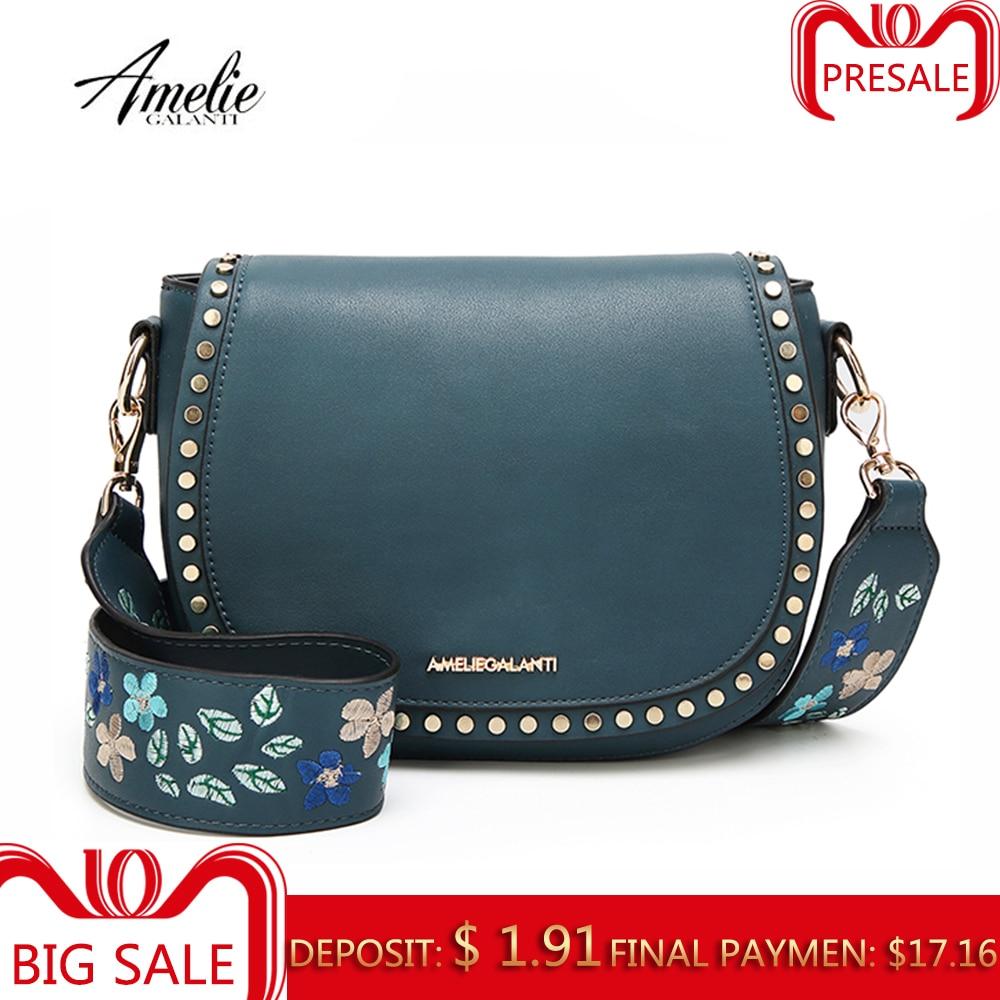 AMELIE GALANTI Мода леди сумка маленькая жесткая длинный ремнь с вышивкой
