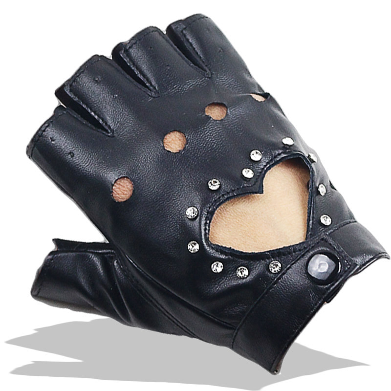 Women Sexy PU Leather Gloves Female Night Club  Rivets Punk Rock Show Half Finger Fitness Street Dance Thin Heart Gloves A80