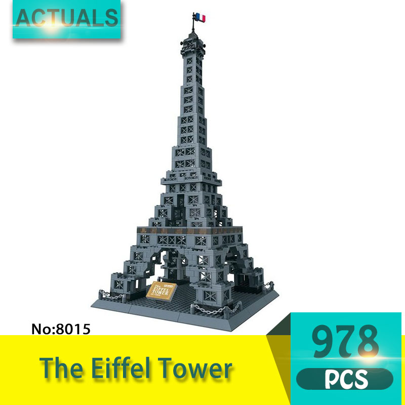 8015 978Pcs Street View series The Eiffel Tower Model Building Blocks Set Creative Bricks Toys For Children wange Gift black pearl building blocks kaizi ky87010 pirates of the caribbean ship self locking bricks assembling toys 1184pcs set gift