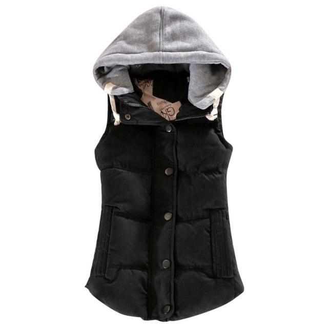 Autumn Winter All-match Cotton Vest Women Patchwork Sleeveless Hooded Collar Casual Coat Colete Feminino Waistcoat