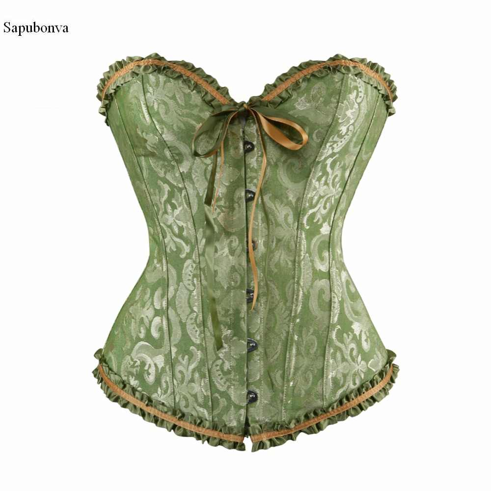 b8a5f5c6faa Sapubonv vintage green corsets and bustiers shapewear lingerie overbust  corset plus size brocade women sexy corset