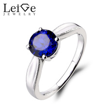 Leige Jewelry Anniversary Ring Lab Blue Sapphire Ring Round Cut Fine Gemstone 925 Sterling Silver Ring September Birthstone