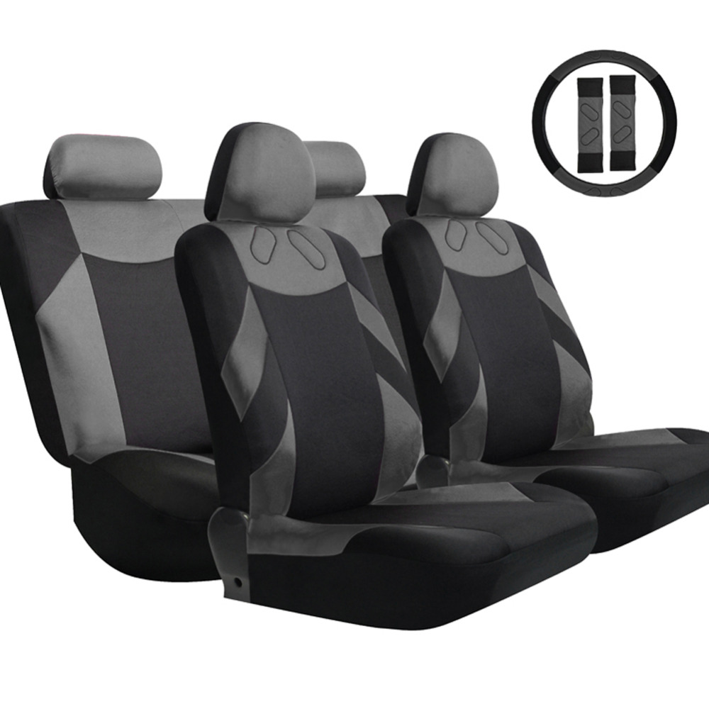 13pcs set car seat covers high quality breathable polyester sponge seat mat pad steering wheel. Black Bedroom Furniture Sets. Home Design Ideas
