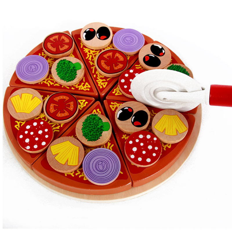 2017 New Colourful Wooden Toy Pizza Set Party Play House Food Simulation Tableware For C ...