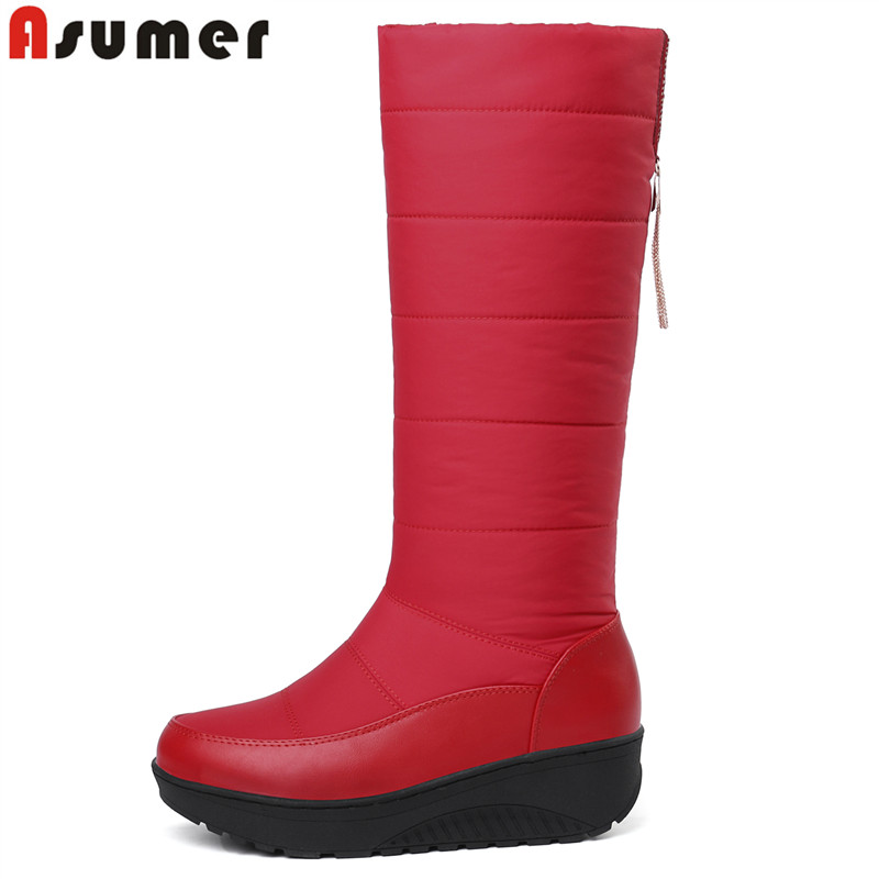 ASUMER 2018 New platform snow boots keep warm waterproof knee high boots women round toe winter boots down thick fur lady shoesASUMER 2018 New platform snow boots keep warm waterproof knee high boots women round toe winter boots down thick fur lady shoes