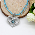 Trendy Women Jewelry Heart Edelweiss Necklace Pendan Full of Rhinestone Vintage Choker Necklace  FN0052