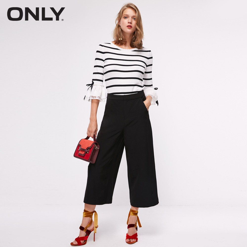 ONLY Women's Autumn New Belt Waist Capri Wide Leg Casual Pants | 11836J520