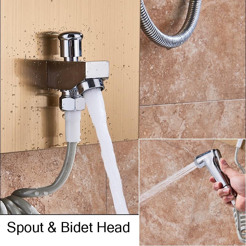 HTB1p56pJVzqK1RjSZSgq6ApAVXaK LED Light Shower Faucet Bathroom Waterfall Rain Black Shower Panel In Wall Shower System with Spa Massage Sprayer and Bidet Tap