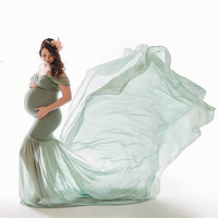Pregnant Dress New Maternity Photography Props For Shooting Photo Pregnancy Clothes Cotton+Chiffon Off Shoulder Half Circle Gown