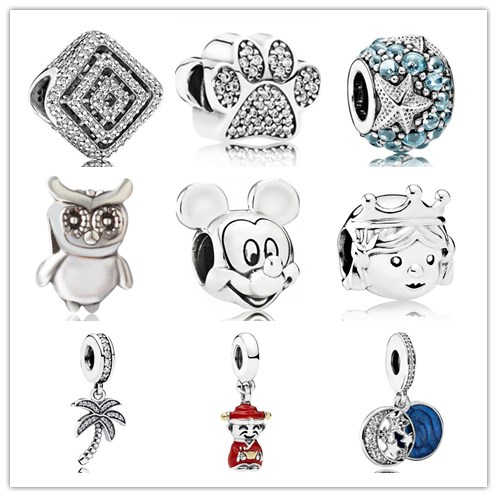 Btuamb Maxi Statement Love Heart Owl Tree God of Wealth Beads Charm Fit Pandora Bracelets & Bangles Necklaces DIY Making Jewelry
