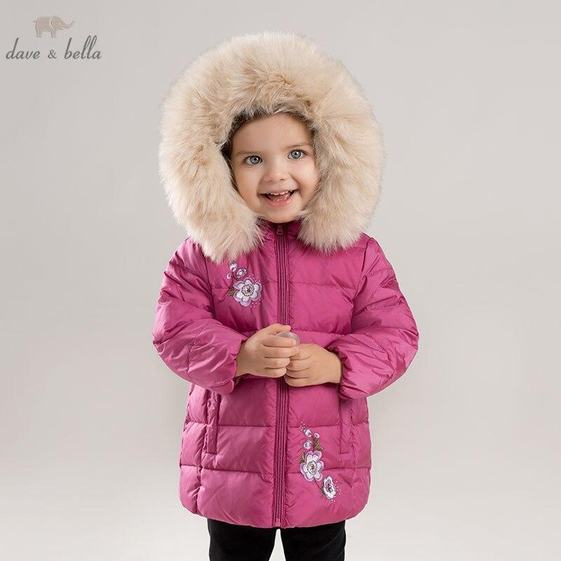 DBA8086 デイブベラ冬ダウンジャケット子供ホワイトダックダウンパッド入り付き花柄の上着  グループ上の ママ & キッズ からの ダウン & パーカー の中 1