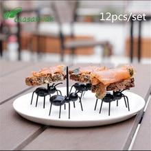 12Pc Kitchen Gadgets Mini Ant Fruit Fork Plastic Fruit Decoration Kitchen Bar Kids Dessert Forks Tableware Kitchen Accessories