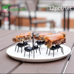 12Pc Kitchen Gadgets Mini Ant Fruit Fork Plastic Fruit Decoration Kitchen Bar Kids Dessert Forks Tableware Kitchen Accessories,Q