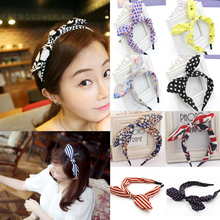 LNRRABC Fashion Hair Jewelry Women Headband Ribbon Bowknot Wire Bendy Bow Rabbit Ears Kawaii Jumbo Diverse Accessories