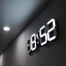 USB Recharge Modern Digital LED Table Desk Night Wall Clock Alarm Watch 24 /12 Hour Display 3 Levels Of Brightness TB Sale