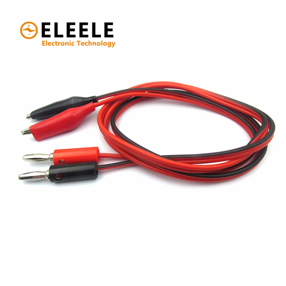 Wholesale 1Pcs 1meter Double Red and Black Clips 2*0.5 square Crocodile Cable Banana plug Alligator Jumper Wire Test Leads DX35 1pcs yt191 high voltage 4 mm banana plug test lead cable wire 100 cm for multimeter the probes gun type banana plugs