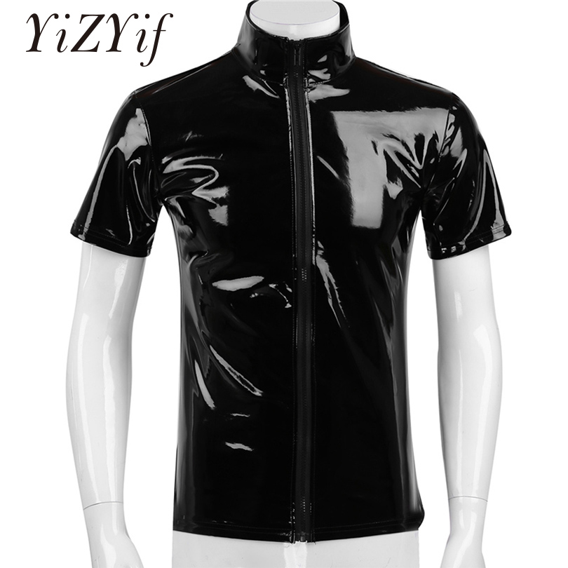 Short Sleeve Slim T-Shirt for Men Faux Leather Tee Tops Novelty Metallic Costume