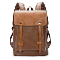 Fashion Brand Laptop Backpack Leather Women Men Travel Backpack Mochilas School Male Business Hasp Backpacks England Style