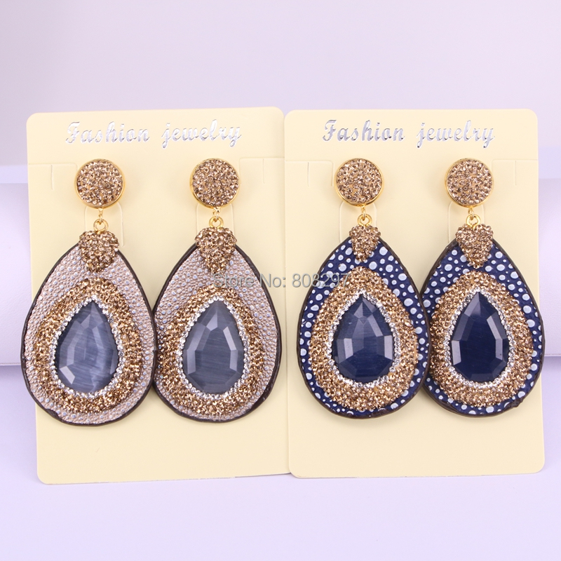 4Pairs Natural Opal Stone Dangle Earrings Handmade Drop leather Earrings Pave Golden Rhinestone Charm Jewelry