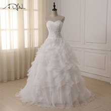 Hot Sale Sweetheart Ruffled Organza Dresses Sleeveelss Wedding High quality Wedding Dress Pengantin harga termurah
