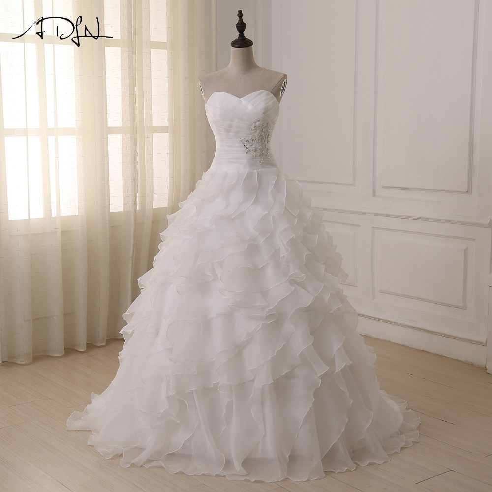 ADLN Real Wedding Dress Robe De Mariee White/ Ivory Sweetheaert Ruffles Corset Plus Size Wedding Dresses Vestido De Novia