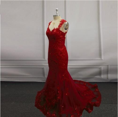 Linyixun Sexy See Though Backless V Neck Long Mermaid   Prom     Dresses   2018 Lace Beaded Appliques Red Cheap Evening   Dress