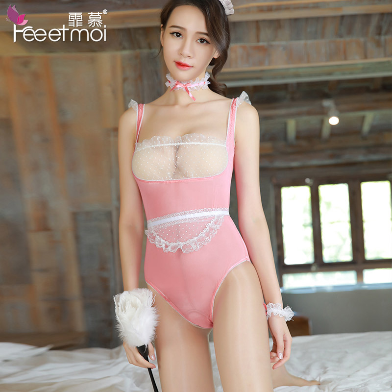 Buy Women Sexy Lingerie Erotic See-through Maid Uniforms Open Crotch Lace Bodysuit Backless Crotchless Babydoll Leotard Lenceria