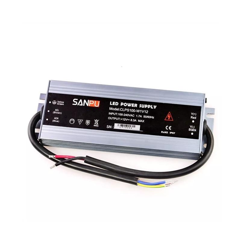 DC12V DC24V Slim Power Supply Waterproof IP67 LED Driver 60W 100W 120W 150W 200W AC-DC 12/24 Volt Lighting Transformer SANPU
