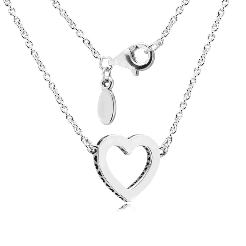 FLN031.1 2017 Valentine\'s Day Necklace Women Loving Hearts Long Necklace Sterling Silver Jewelry Necklaces & Pendants With Clear CZ  (3)