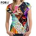 FORUDESIGNS Vintage Style Women T Shirt Tumblr Crop Tops Fashion 3D Printing Elastic Breath Women Cropped T-Shirt Vetement Femme