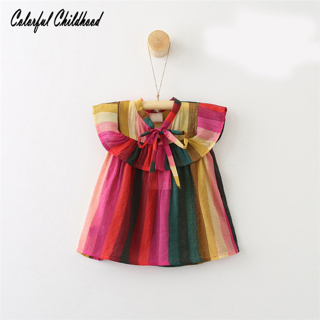 92b107637 Toddler Baby Girls Summer Clothing Sleeveless rainbow stripe Tops ...